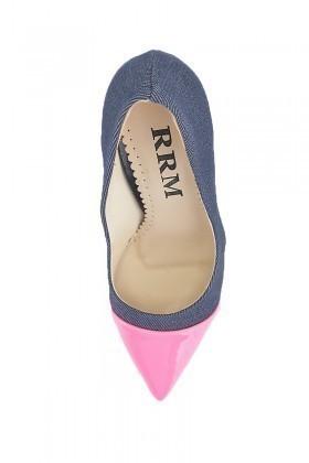 Moda Vindy Lacivert-Pembe MVD-STLT-012 Stiletto Topuklu Bayan Ayakkabı