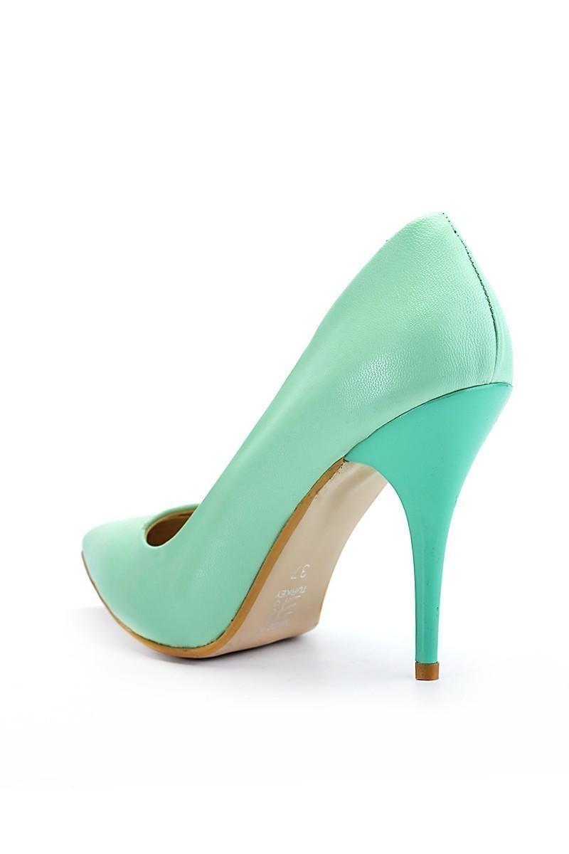 Moda Vindy Su Yeşili MVD-STLT-005 Stiletto Topuklu Bayan Ayakkabı