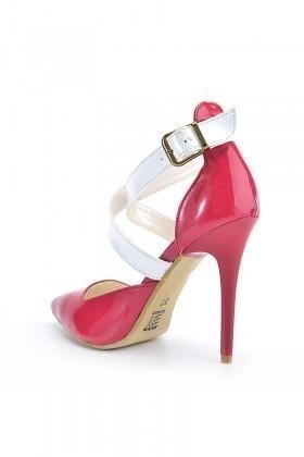 Moda Vindy Kırmızı-Beyaz MVD-STLT-015 Stiletto Topuklu Bayan Ayakkabı
