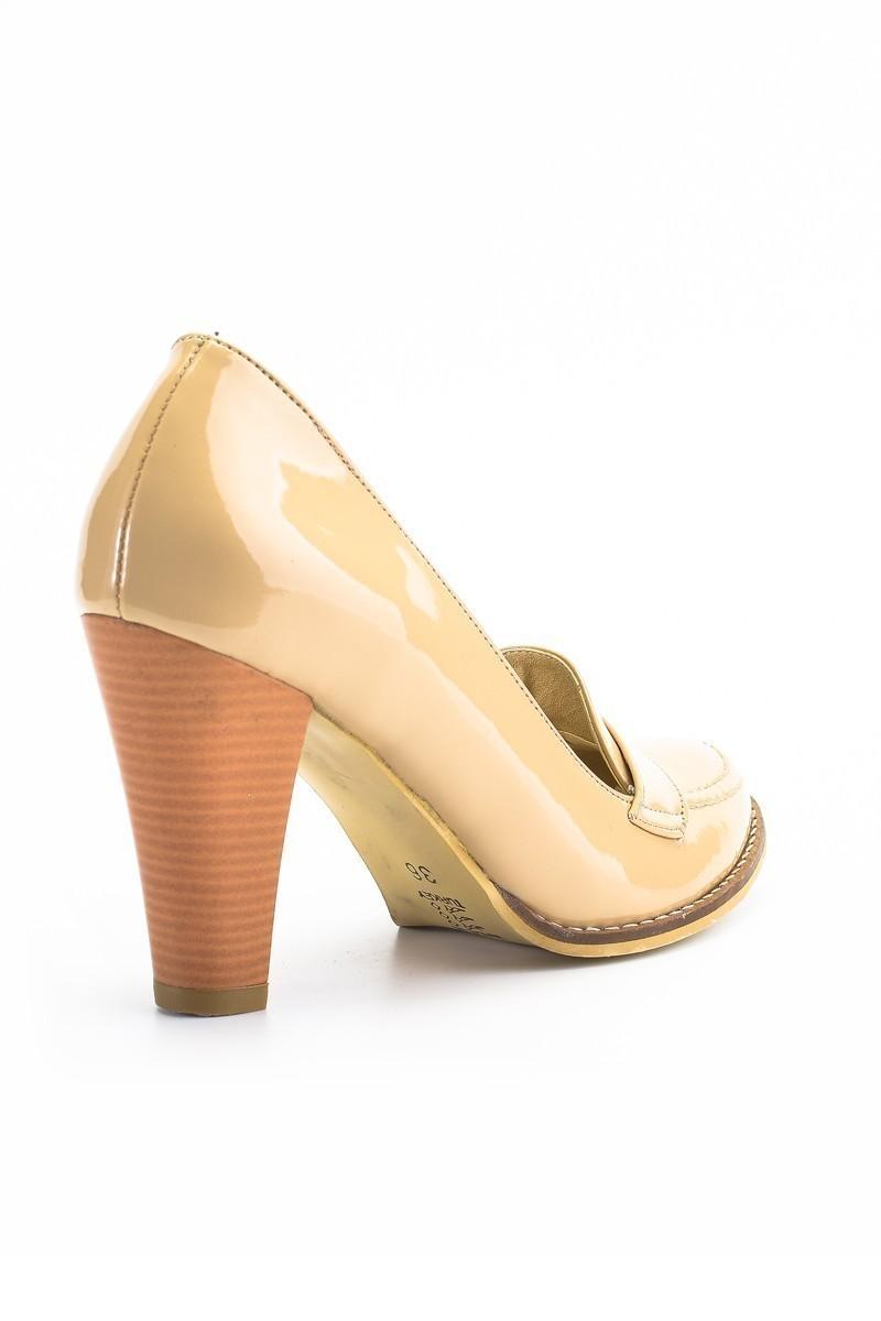 Moda Vindy Bej MVD-PLT-2330 Klasik Topuk Bayan Ayakkabı