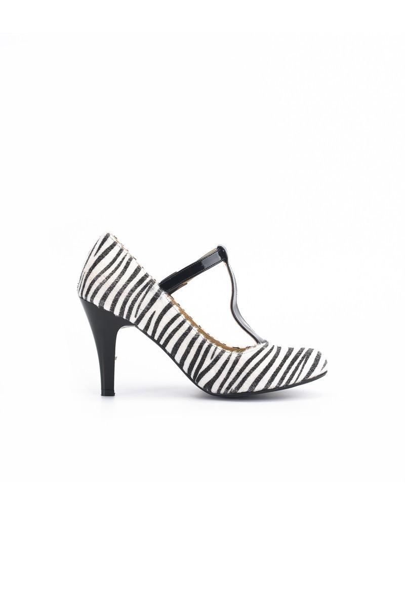 Moda Vindy Siyah-Beyaz MVD-PLT-1320 Klasik Topuk Bayan Ayakkabı