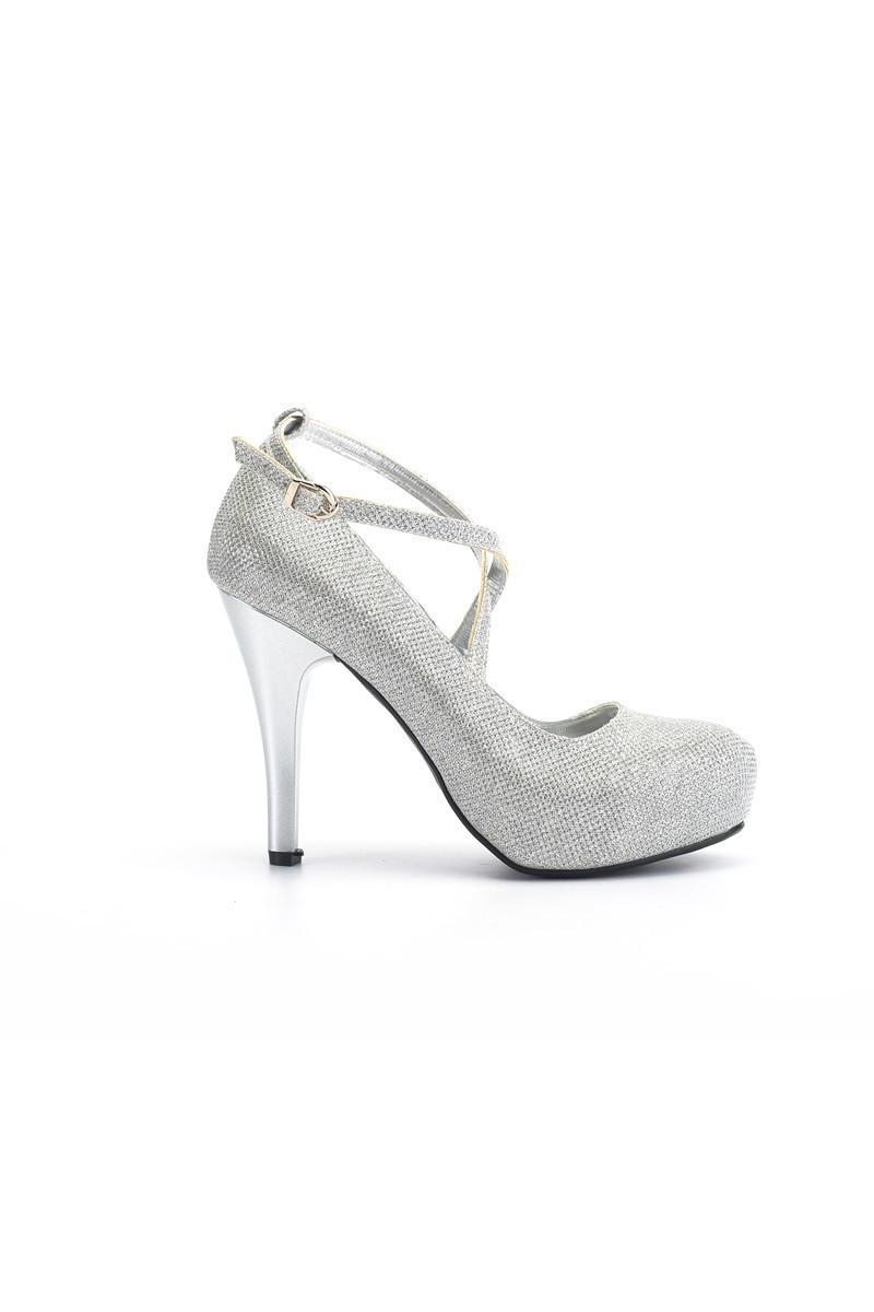 Moda Vindy Gümüş Rengi MVD-PLT-1308-GMS Platform Topuk Bayan Ayakkabı