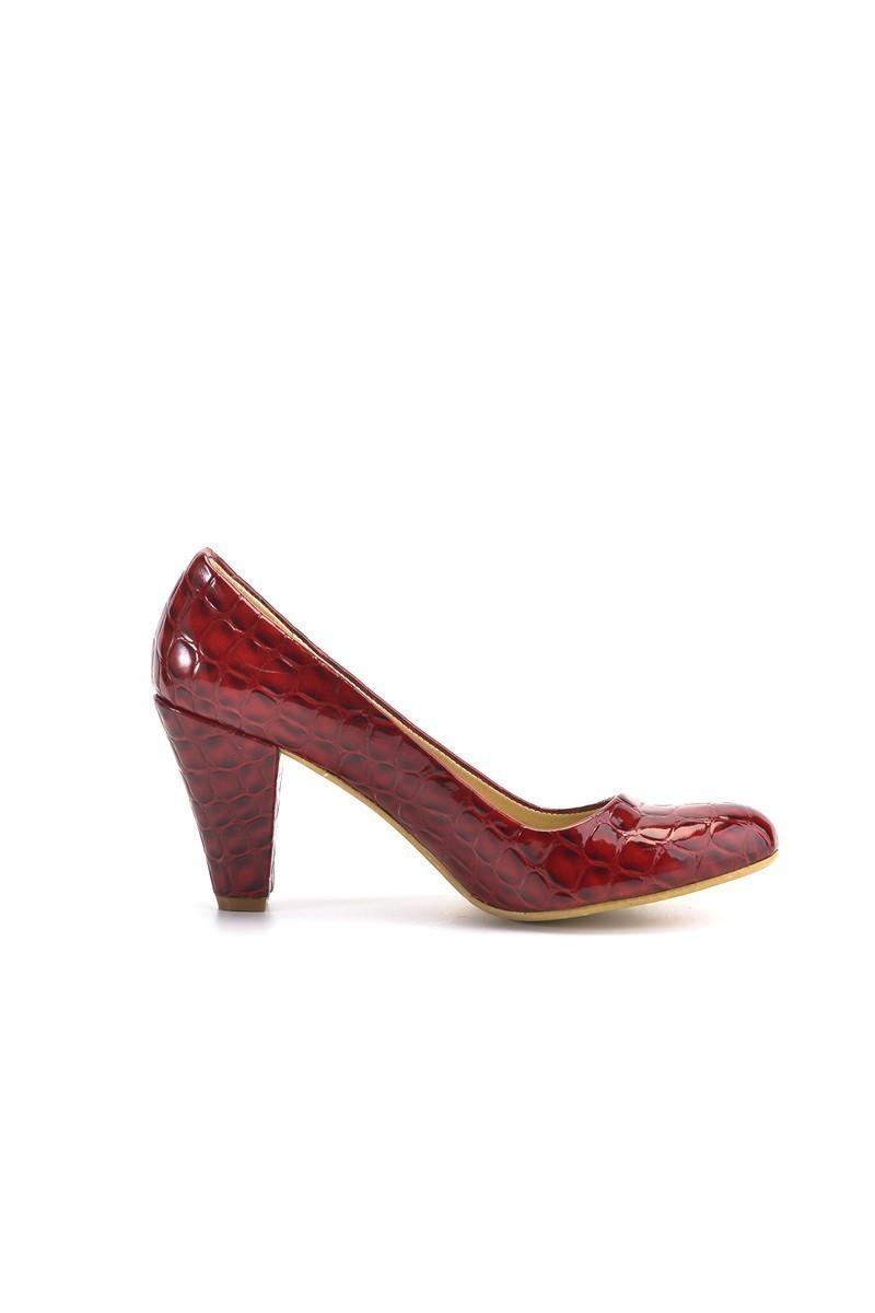 Moda Vindy Bordo MVD-PLT-1155 Klasik Topuk Bayan Ayakkabı