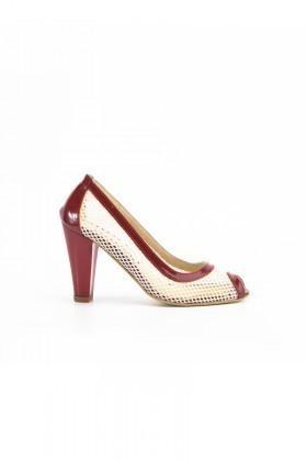 Moda Vindy Beyaz-Bordo MVD-PLT-1120 Klasik Topuk Bayan Ayakkabı