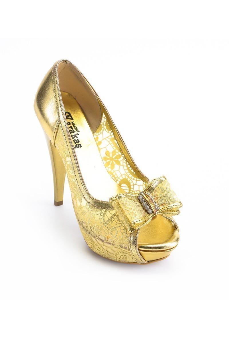 Moda Vindy Altın Sarısı MVD-PLT-1115 Platform Topuk Bayan Ayakkabı