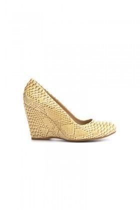 Moda Vindy Bej MVD-DLG-6015 Dolgu Topuk Bayan Ayakkabı