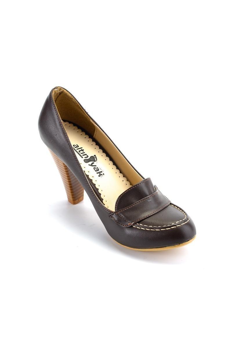 Moda Vindy Kahverengi MDV-KLSK-8000 Klasik Topuk Bayan Ayakkabı