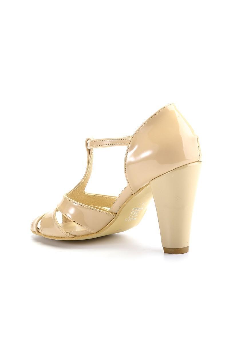 Moda Vindy Krem MVD-KLSK-1900 Klasik Topuk Bayan Ayakkabı