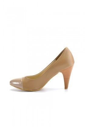 Moda Vindy Bej MVD-KLSK-1740 Klasik Topuk Bayan Ayakkabı