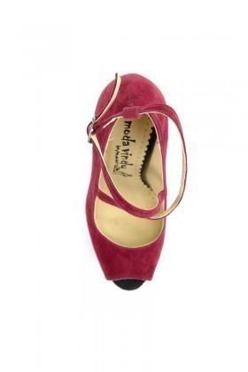 Moda Vindy Bordo-Siyah MVD-PLT-1340 Plartform Topuk Bayan Ayakkabı