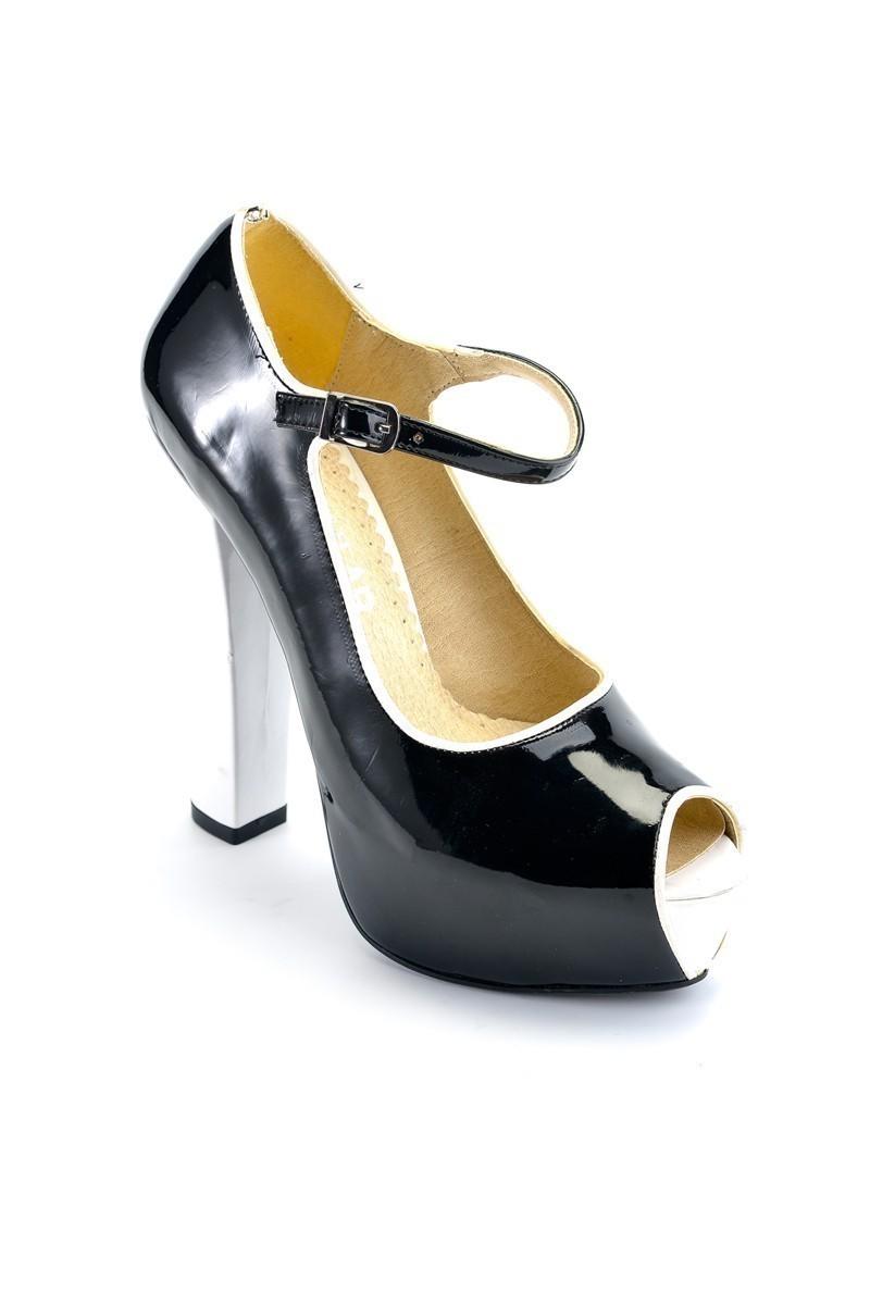 Moda Vindy Siyah-Beyaz MVD-PLT-1335 Plartform Topuk Bayan Ayakkabı