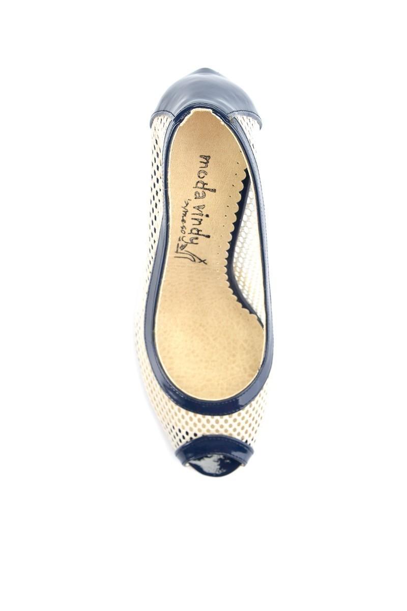 Moda Vindy Lacivert-Beyaz MVD-KLSK-1120 Klasik Topuk Bayan Ayakkabı