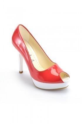 Moda Vindy Kırmızı-Beyaz MVD-PLT-1101 Plartform Topuk Bayan Ayakkabı