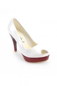 701589961da00 Moda Vindy Beyaz-Bordo MVD-PLT-1101 Plartform Topuk Bayan Ayakkabı