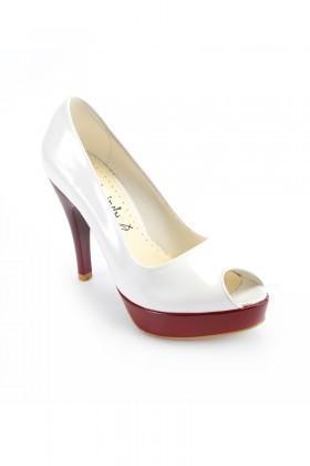 Moda Vindy Beyaz-Bordo MVD-PLT-1101 Plartform Topuk Bayan Ayakkabı