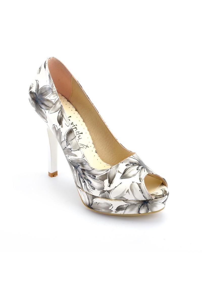 Moda Vindy Beyaz-Gri MVD-PLT-1100 Plartform Topuk Bayan Ayakkabı