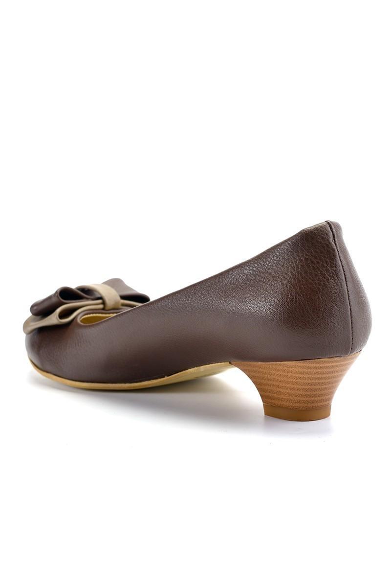 Moda Vindy Kahverengi MVD-KLSK-666 Klasik Topuk Bayan Ayakkabı