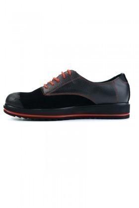 Polo Clup Siyah-Kırmızı PC-8066 Hakiki Deri Erkek Ayakkabı