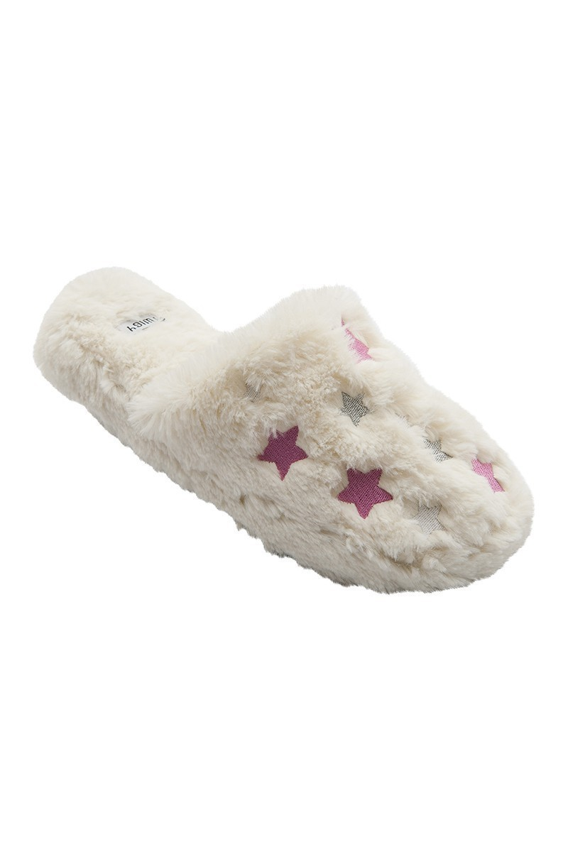 Twigy Beyaz-Pembe TWG-E0476-4 Tw Stars Bayan Ev Terliği
