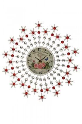Tempo Beyaz-Kırmızı DP-0580 Taşlı Duvar Saati