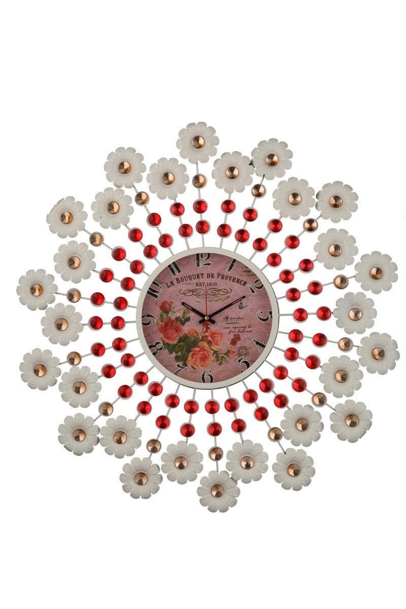 Tempo Beyaz-Kırmızı DP-0575 Taşlı Duvar Saati