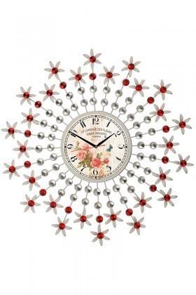 Tempo Beyaz-Kırmızı DP-110-FRF-2 Taşlı Duvar Saati