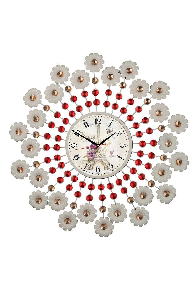 Tempo Beyaz-Kırmızı DP-110-FRF-1 Taşlı Duvar Saati