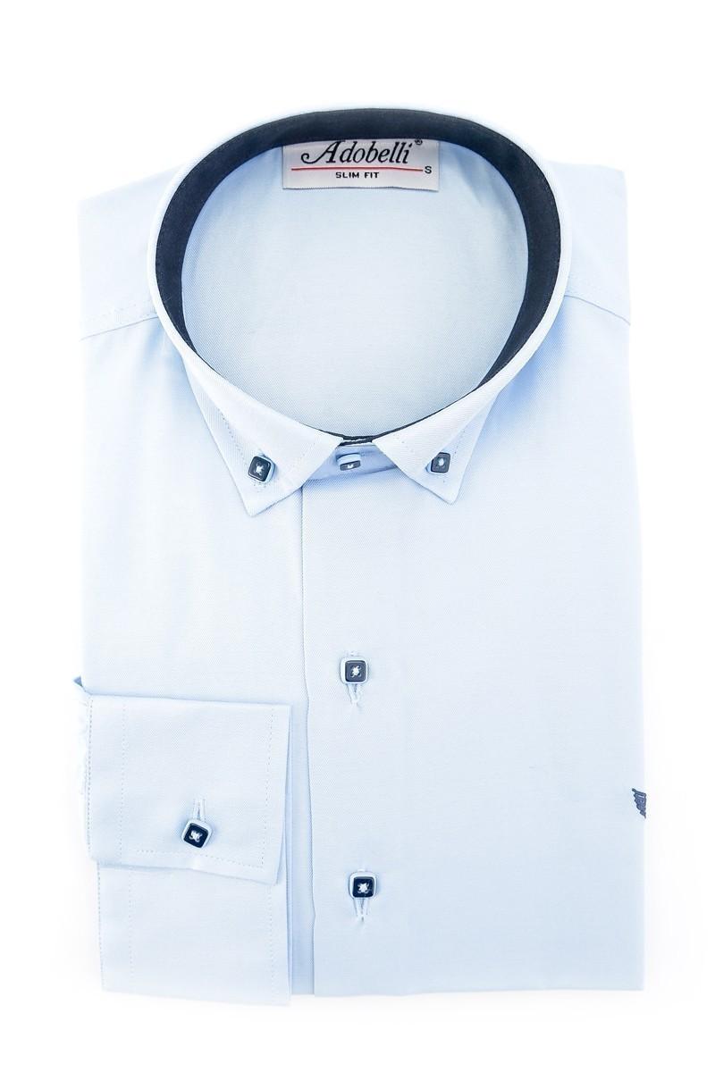 Adobelli Gök Mavi ADB-111 Erkek Uzun Kollu Gömlek