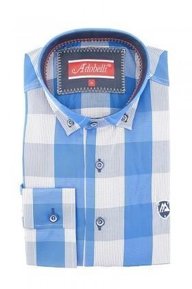 Adobelli Mavi-Gri ADB-112 Erkek Uzun Kollu Gömlek
