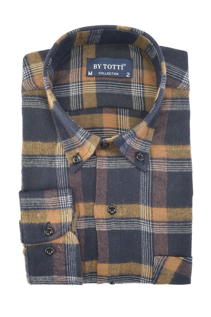 By Totti Lacivert-Kahve BT-002 Erkek Uzun Kollu Gömlek