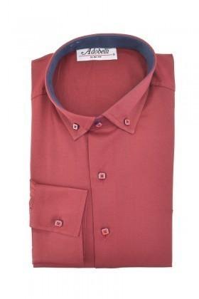 Adobelli Bordo ADB-118 Erkek Uzun Kollu Gömlek
