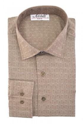 Adobelli Kahverengi ADB-116 Erkek Uzun Kollu Gömlek
