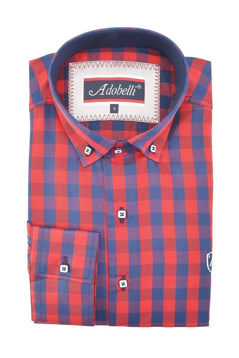 Adobelli Kırmızı-Lacivert ADB-115 Erkek Uzun Kollu Gömlek