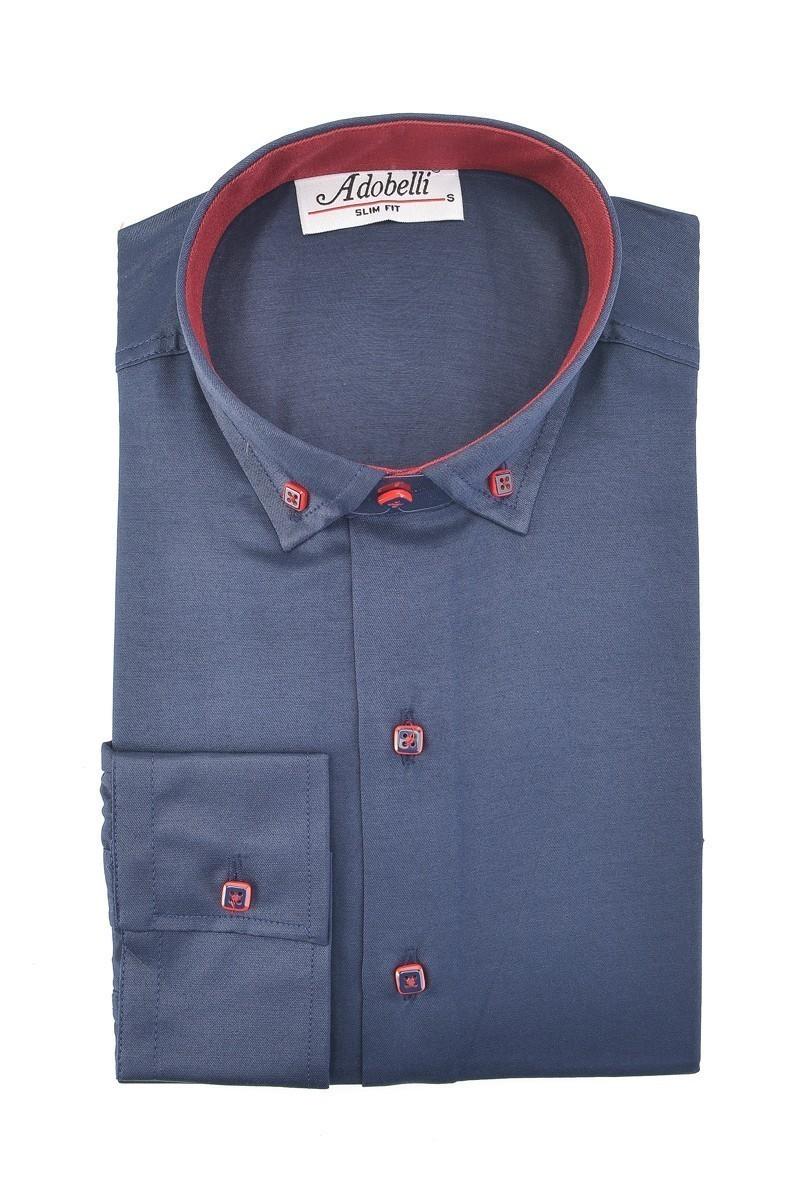 Adobelli Lacivert ADB-114 Erkek Uzun Kollu Gömlek