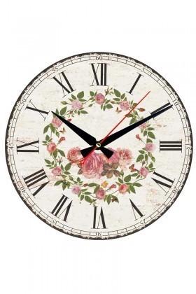 Tempo Beyaz YMDF-11 Çiçekli Duvar Saati
