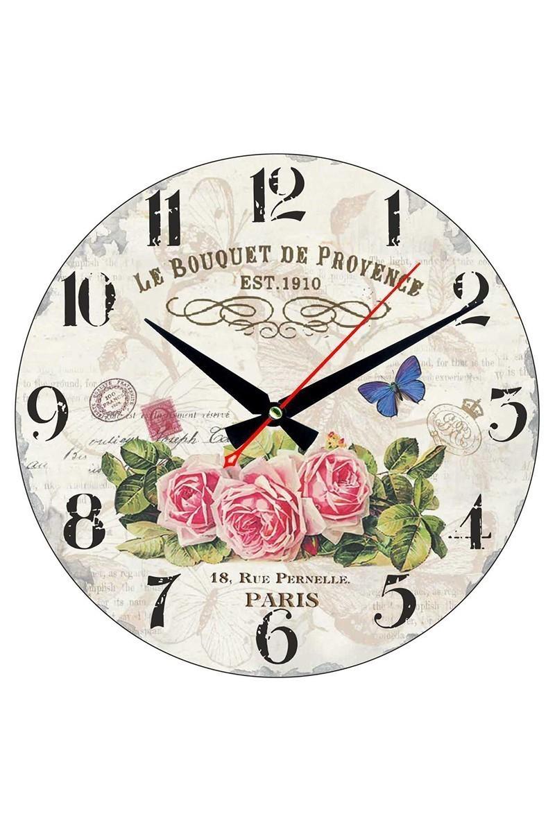 Tempo Beyaz YMDF-10 Çiçek Duvar Saati