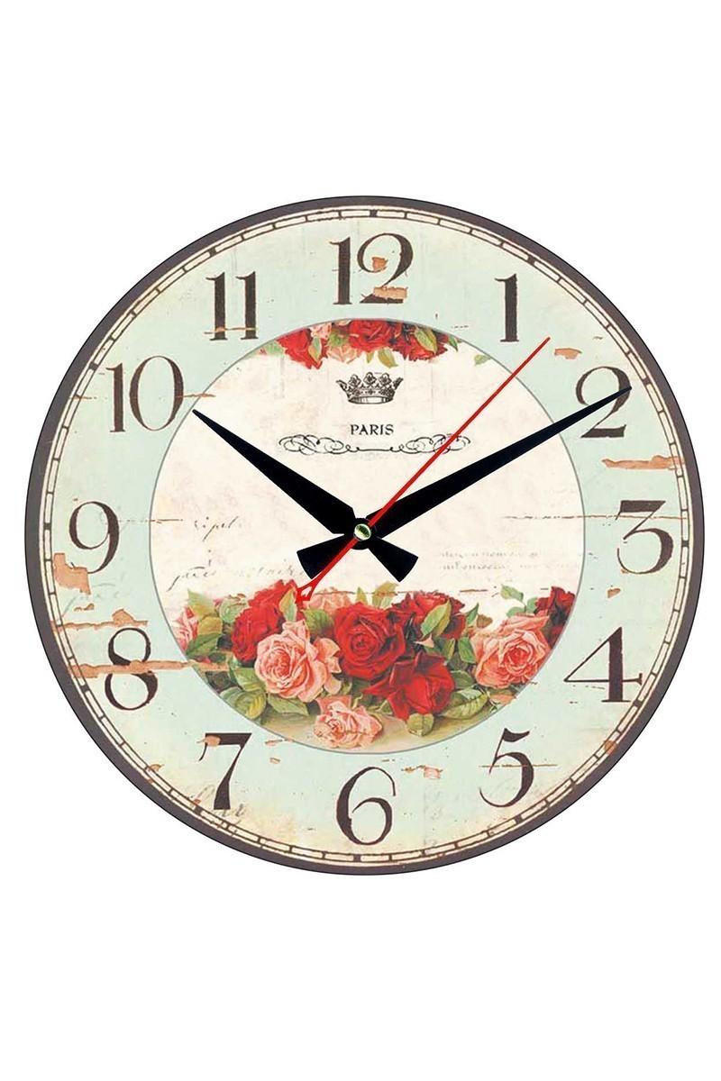 Tempo Karışık Renkli YMDF-8 Çiçekli Eskitme Duvar Saati