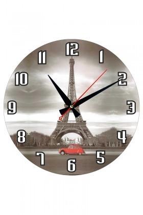 Tempo Karışık Renkli MDF-YUVARLAK-23 Eyfel Duvar Saati