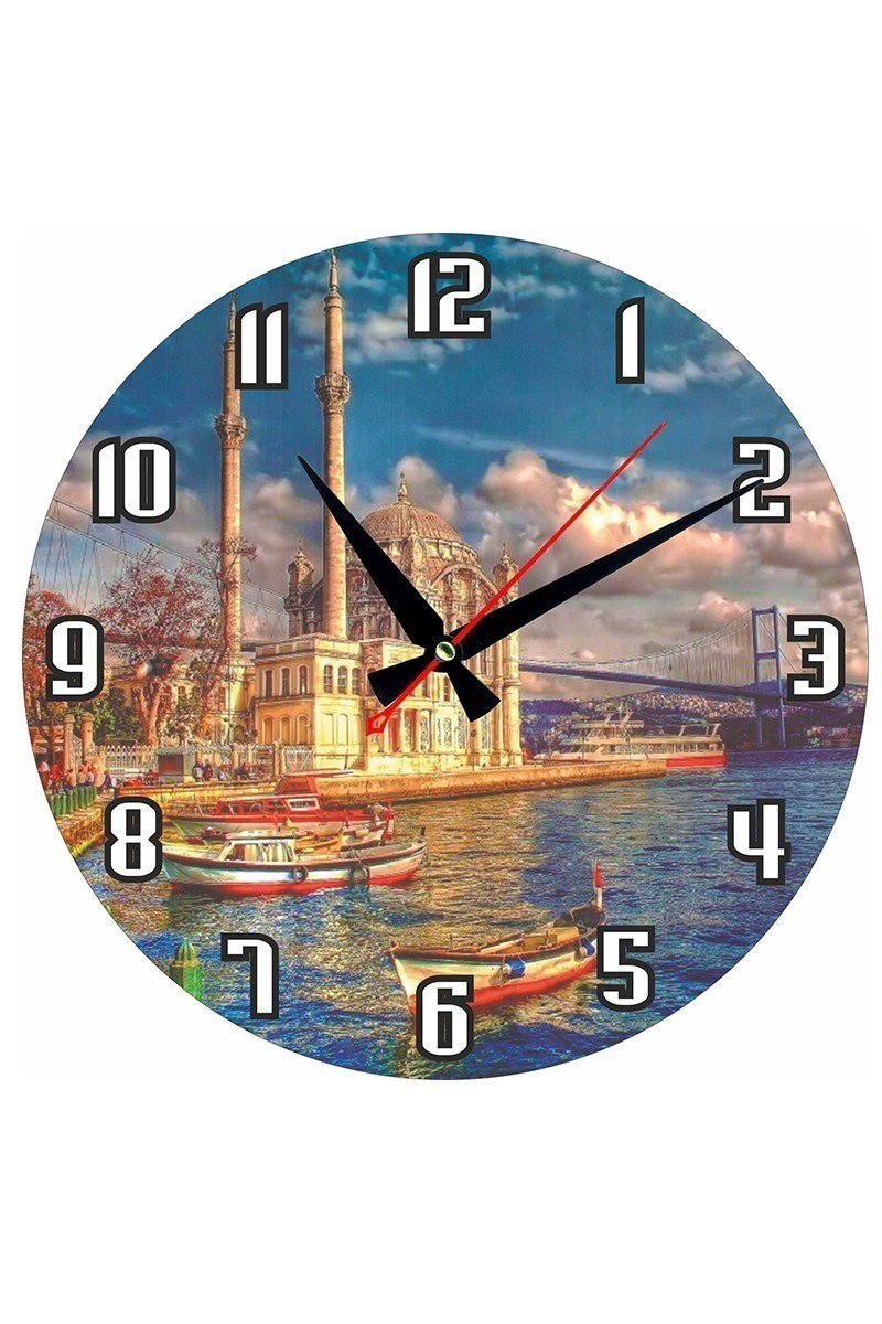 Tempo Karışık Renkli MDF-YUVARLAK-19 İstanbul Duvar Saati