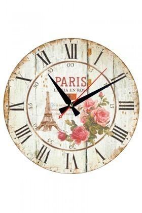 Tempo Beyaz MDF-YUVARLAK-5 Paris Duvar Saati