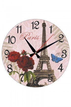 Tempo Karışık Renkli MDF-YUVARLAK-3 Paris Duvar Saati