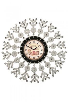 Tempo Beyaz-Siyah LUX-FRFR-3 Taşlı Duvar Saati