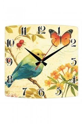 Tempo Karışık Renkli KMDF-008 Kuş & Kelebek Duvar Saati