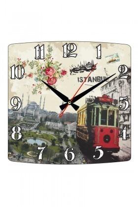 Tempo Karışık Renkli KMDF-007 İstanbul Duvar Saati