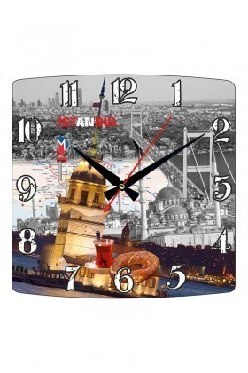 Tempo Karışık Renkli KMDF-006 İstanbul Duvar Saati