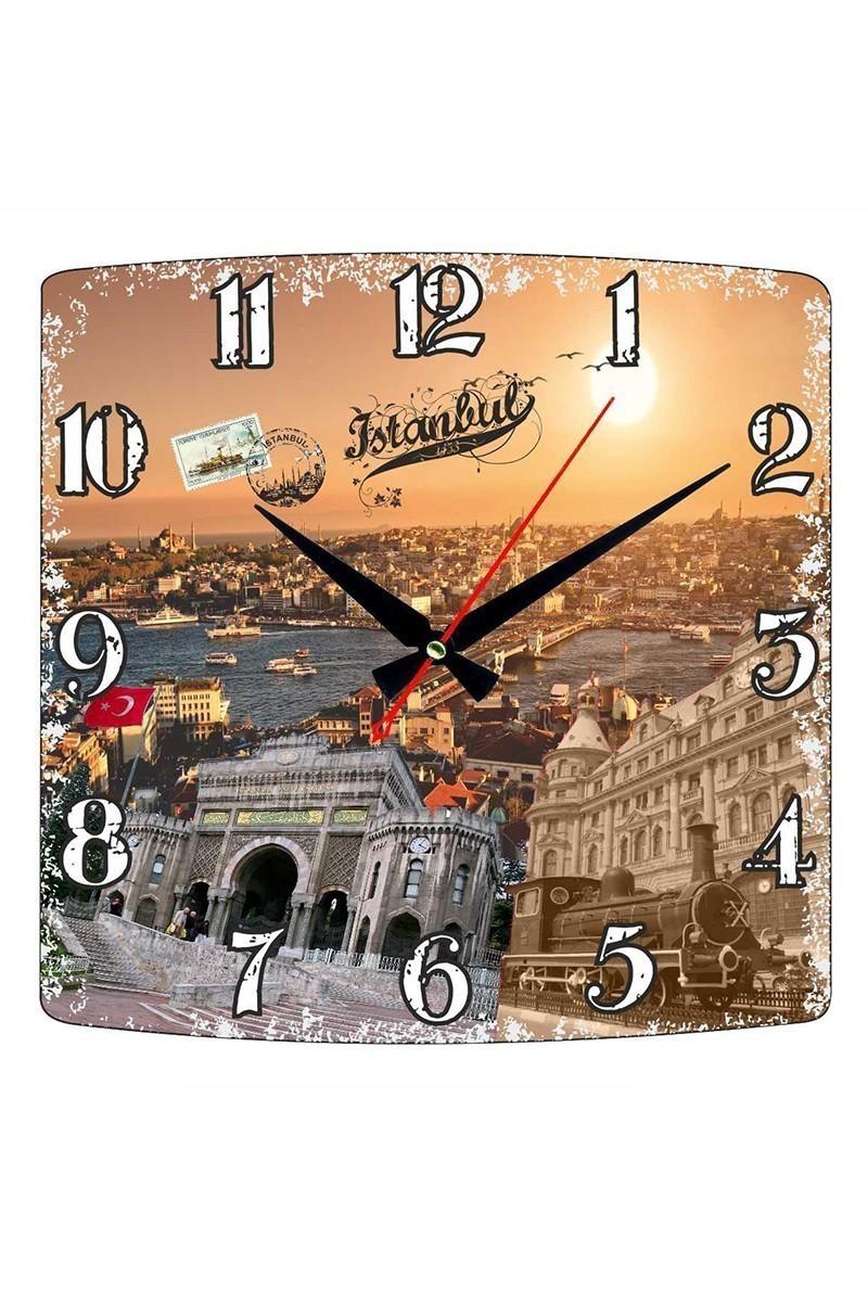 Tempo Karışık Renkli KMDF-005 İstanbul Duvar Saati