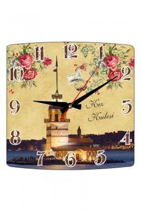 Tempo Karışık Renkli KMDF-001 Kız Kulesi Duvar Saati