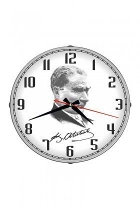 Tempo Beyaz DP-3004-013 Atatürk Portre Duvar Saati