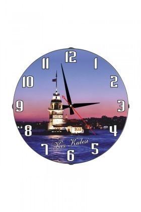 Tempo Mavi DP-3004-008 Kız Kulesi Duvar Saati