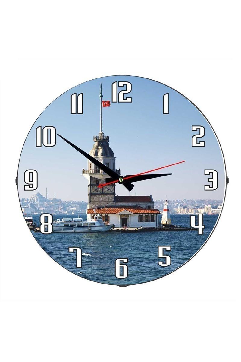 Tempo Mavi DP-3004-007 Kız Kulesi Duvar Saati